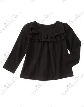 """2T girls Gymboree /""""Right Meow/"""" long sleeved black NWT gold /& coral top"""