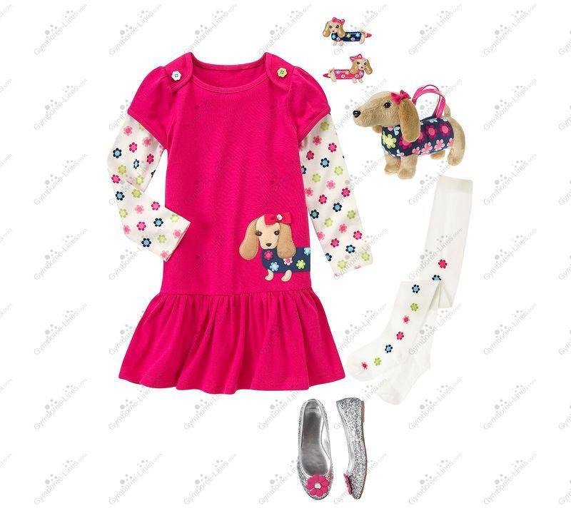 GYMBOREE GIRLS BEST FRIEND BROWN w// DOG SWEATSHIRT DRESS 4 5 6 9 10 12 NWT