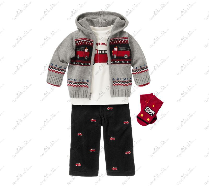GYMBOREE Classic Holiday 0-3 Month Corduroy Fire Truck Overall NWT