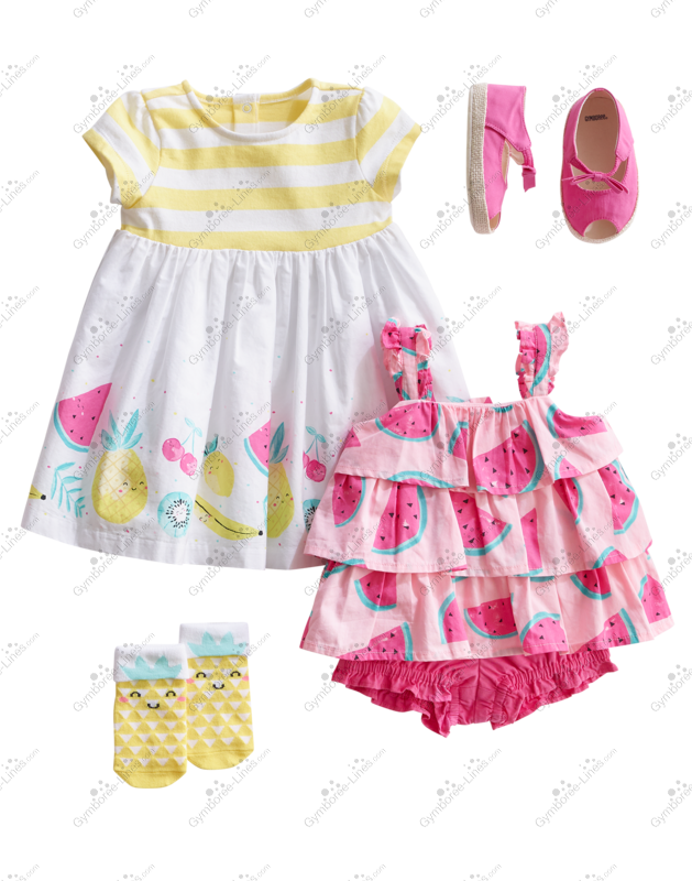Gymboree California Dreamers Pink Watermelon Print Knit Dress Baby Girl